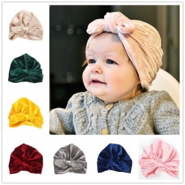 Baby Cap Newborn Toddler Kids Velvet Turban Beanie Hat Head wrap Autumn Winter Boy Girl Headwear Children's Soft Hat H139S