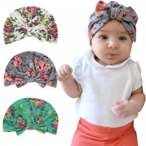Baby Cap Turban Hat For Baby Girls India Hat Kids Beanie Soft Turban Knot Head  wrap cap Bohemian style Bowknot Warm H133S 0b9aefe2a47f