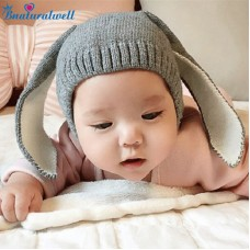 Baby Crochet Bunny Hat Knitted Bugs Rabbit Ears Baby Hats Beanie Boy or Girl Photo prop Shower gift Warm Cap Skullies H007S