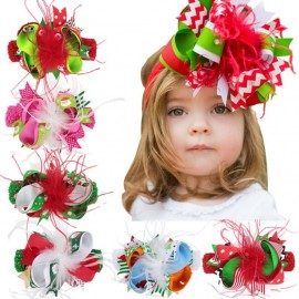 Baby Girls Christmas Flower Headband Elastic Hairband Children Christmas Hair Accessories Ribbon Hair Bows Clips HB208S