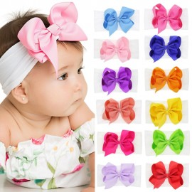 Baby Headbands Baby Girl Bow Headband Big Bow Headwrap Wide Nylon Head wraps Infant girl Hair bows Top Knot HB270S
