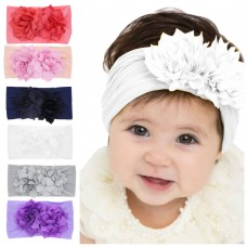 Baby girls Nylon Headband Toddler headbands Wide nylon head wraps Infant headbands FLOWER Nylon Headwrap One size fit all HB266S