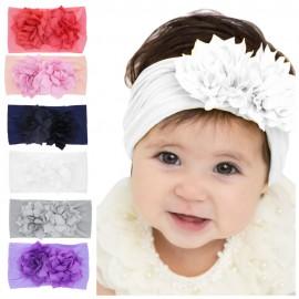 Baby girls Nylon Headband Toddler headbands Wide nylon head wraps Infant headbands FLOWER Nylon Headwrap One size fit all HB266S