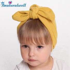 Baby turban look hat Newborn Knot bow headwrap Winter warm cap Cotton beanies Infant Turban head wrap Messy bow headband H152S
