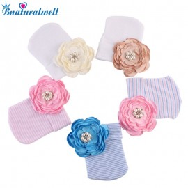 Bnaturalwell Baby Flower Hat Newborn Striped Caps Hospital Hats Soft Beanies Infant Toddler Warm Winter Autumn Bow Hats H093S