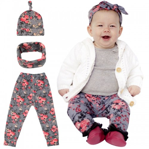 Bnaturalwell Baby Girl Coming Home Outfit Pants Baby Print Leggings Hat And Headband Set White Bodysuit Hospital Outfit Bc006s