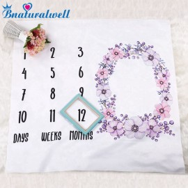 Bnaturalwell Baby Milestone Blanket Watercolor Floral Blanket Newborn Photo Backdrop Flower Month Growth Chart Gift BC022S