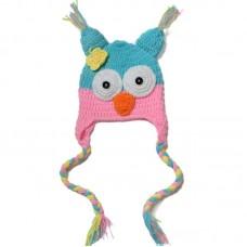 Bnaturalwell Baby Winter Crochet Owl beanie Hat With Ear Flap Soft Cartoon Hat Infant Kids Animal Cap Handmade Knitted hat H964