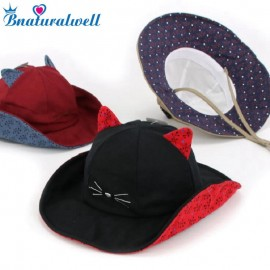 Bnaturalwell Children's Bucket Hat Toddler Boys girls Cotton Beach Hat Kids Summer Sun Hat Cat design Collapsible H123S