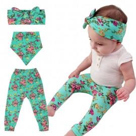 Bnaturalwell New Summer Baby Girl Boys Clothes set Newborn Printed Pants+Headband+Bibs 3pcs Toddler Infant Clothing set BC005S