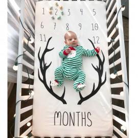 Bnaturalwell Newborn Personalized Milestone Blanket Baby Age Blanket New Baby Gift Botanical Print Baby monthly Blanket BC008S