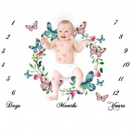 Bnaturalwell Woodland Bird Baby Milestone Blanket for Monthly Pictures Baby Shower Gift, Outdoor Baby Blanket Milestones BC023S