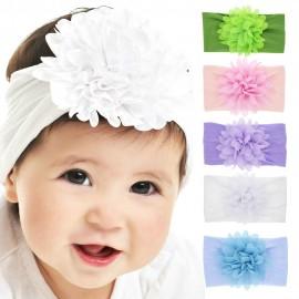 Chiffon Flower nylon headband ONE SIZE fits ALL Baby headbands Nylon Headbands wide nylon head wraps Newborn shower gift HB264S