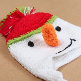 Crochet Baby Girl Boy Twin Snowman Ear Flap Beanies Christmas Hats Winter Holiday knitted cap Snowman Beanie Cartoon design H954