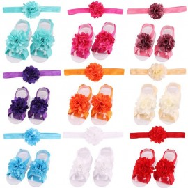 Flower Headband Baby Girls Barefoot Sandals Hair Foot Accessories Elastic Fashion Foot Decoration Kids Gift S072S