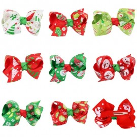 Naturalwell 8pcs/Set Baby Girls Hair Bows Hairpins Toddler Hairclips Headwear Christmas Hair Clips For Girls Party Gift BB066S
