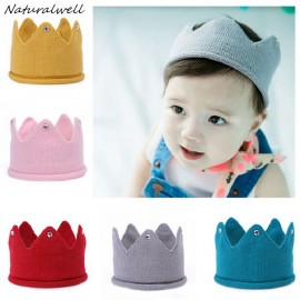 Naturalwell Baby Crown Headband Boys Girls Crochet Crown Hat Hair Accessories Children Crochet Hat Headwear Photo Props HB101