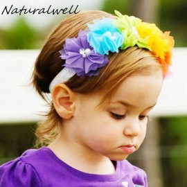 Naturalwell Baby Girl Flower Headband Crown Hairband Elastic Turban Rainbow Child Hair Accessories Headdress Headwear HB539