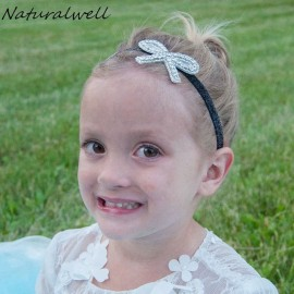 Naturalwell Baby Girl Photo Prop Baptism Headband Bow Hairband Rustic Rhinestone Christening Wedding Flower Girl hair band HB097