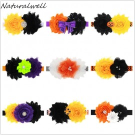 Naturalwell Baby Girls Halloween Shabby Flower Child Headband Hair bows Elastic band Thanksgiving Hairband Photo Prop HB571