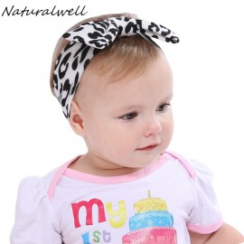 Naturalwell Baby Girls Soft Bow Knot Hairband Leopard Headband Stretch Turban Knot Head Wrap Hair Band Accessories HB510S