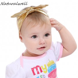 Naturalwell Baby Girls Stretch Rabbit Ear Hairband Top Knot Glitter Bow Turban Headbands Hair Band Accessories 1pc HB385