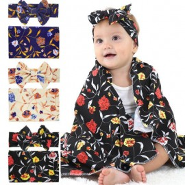 Naturalwell Baby Hospital Swaddled Set Newborn Swaddle Matching Headwrap Girls Floral Blanket Boy Sleeping Bag Photo Prop HB075S