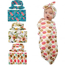 Naturalwell Baby Newborn Swaddle Sack Set Cocoon Sleep Sack Blanket With Headband Donut Design Outfit Photo Props Headwrap HB112