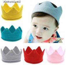 Naturalwell Baby crown Headband Girls Crochet hair accessories Children hair bands Soft Headwear Hair Band 1pc HB278