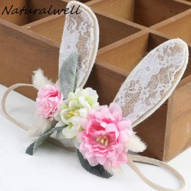 Naturalwell Baby girls Bunny Flower Crown headband Newbown Bunny Crown Infant girls Flower Crown  Eater Bunny hairband HB149S