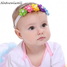 Naturalwell Baby girls Candy Colors Headband Baby Girls Kids Pearl Rainbow 5 Flowers Headwear Hair Band Accessories 1pc HB076