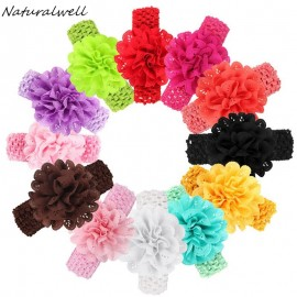 Naturalwell Baby hearbands Toddler shabby chiffon flower hair accessories Newborn elastic lace waved hair ribbon 10pcs HB331