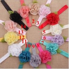 Naturalwell Beautiful Baby floral headbands Hot sale elastic shabby chiffon flower hair bands for newborn girls 10pcs HB347