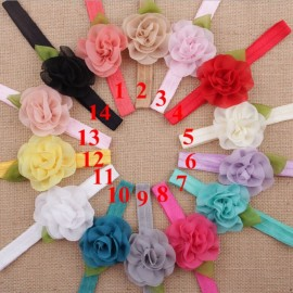 Naturalwell Beautiful Baby floral headbands Hot sale elastic shabby chiffon flower hair bands for newborn girls 10pcs HB347
