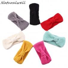 Naturalwell Bohemia Top Knot Elastic Turban Headband Child Girls Headwrap Hairband Crochet Woolen Hair Accessories 1pc HB043