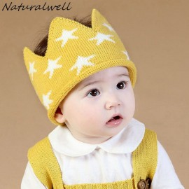 Naturalwell Children crown Headband Girls Crochet hat Kids hair accessories Baby hair bands Soft Headbands with star 1pc HB102