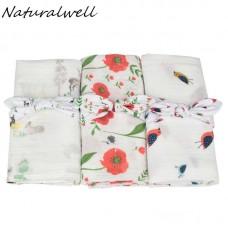 Naturalwell Coral Floral Swaddle Organic Gauze Baby Blanket headband Girl Swaddle Floral Muslin Newborn cotton Blanket set HB105