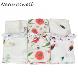 Naturalwell Coral Floral Swaddle Organic Gauze Baby Blanket headband Girl Swaddle Floral Muslin Newborn cotton Blanket set HB105