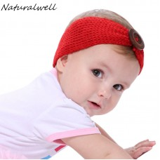 Naturalwell Crochet Child Headband Finished With A Wooden Button Little Girls Turban Photo Prop Children Showers Hairband HB121