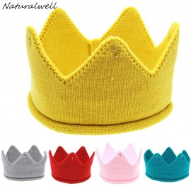 Naturalwell Crown Headband Baby girls Photo Prop Rhinestone Headbands Kids Hat Newborn Knit Prince Crown Crochet Hat 10pcs HB278