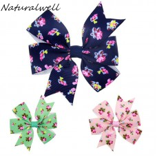 Naturalwell Fashion Children Floral Hair Bow Clip Baby Girls Hair Bows Green Navy Pink Toddler Hairclips Infant Christmas BB031
