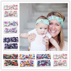 Naturalwell Mommy and Me Matching Turban Headband Set Fashion Boho Floral Topknot Head Wrap for Mom and daughter Gifts HB010