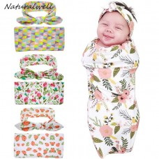 Naturalwell Newborn Swaddle Blanket & headwrap Hospital Swaddled Set Floral Swaddle photo prop Top knots Geometric HB601