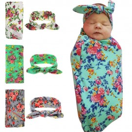 Naturalwell Newborn Swaddle & headwrap Hospital Swaddled Set Floral swaddle set Headband Newborns photo prop Top knots 1pc HB568