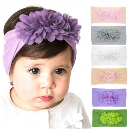Nylon Headband One size baby girls headbands wide nylon headwraps Toddler headbands Flower Headband Infant hair bows HB265S