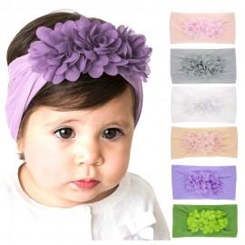 Nylon Headband One size baby girls headbands wide nylon headwraps Toddler headbands Flower Headband Infant hair bows HB265S