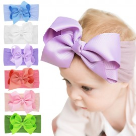 Nylon Headbands with bow Large ribbon bow stretch nylon headband Wide nylon head wraps Hair Bows Girls hair accessories HB269S