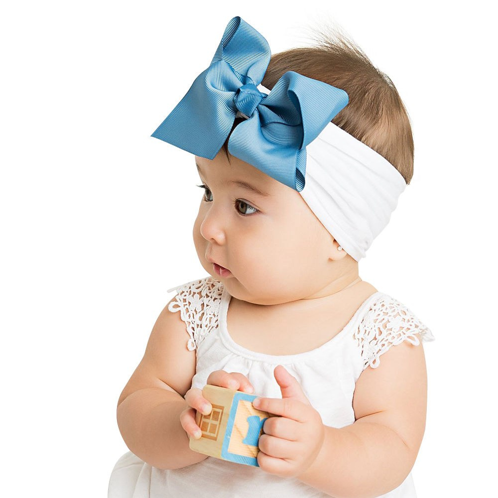 ponytail bow Big Bow Headband Baby Headband Girl Headband Toddler Headband Nylon Headband Ribbed bow Nylon bow headband Mom bun bow